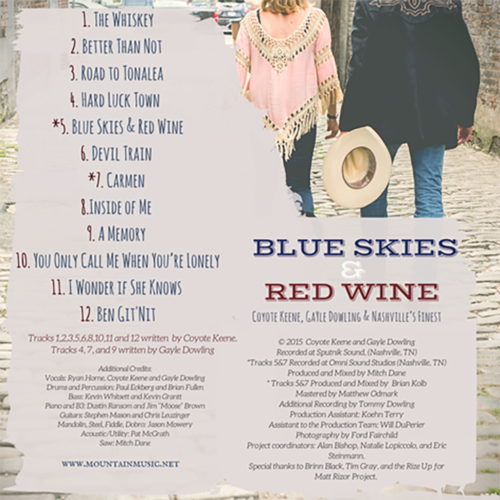 Back Cover of Blue Skies & Red Wine